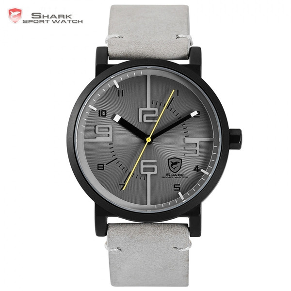 Bahamas Saw Shark Sport Watch Grey Relogio Masculino Simple 3d Special Long Second Hand Men Male Quartz Leather Band Clock/sh571 Y19051302
