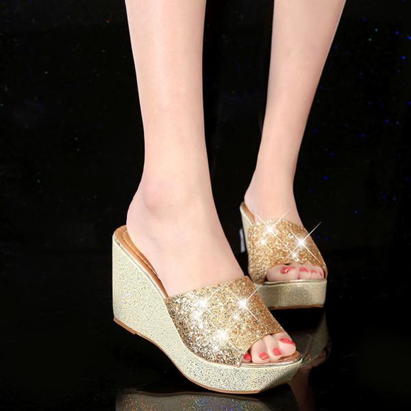 Versión coreana Lentejuelas Tacones de cuña Zapatillas Mujer Muffin Plataforma Sandalias Tacón alto Casual yi zi tuo Zapatos antideslizantes
