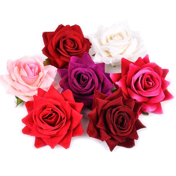 2Pcs 8cm Silk Sharp Rose Artificial Flowers for Wedding Home Decoration Valentine's Day DIY Craft Wreath Gift Decor Fake Flowers