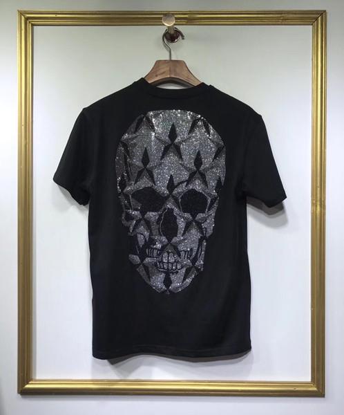 Men's T Shirt 2019 Short Sleeve Artificial diamond Big skull Round collar T-Shirt Tops & Tees Male Tshirts Men Clothing