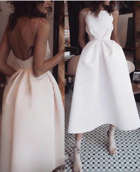 Basit Saten Çay Boyu Kokteyl Parti Elbiseleri 2019 Cepler Kare benzersiz Backless Draped Kısa Balo Abiye giyim Vestido De Novia