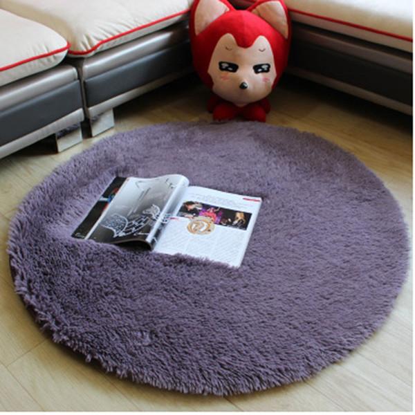 Urijk Bedroom Floor Mats Silk Round Bedside Carpet Yoga Mat Rug Silk Hair 40X40cm Hanging Basket Computer Chair Cushion Bedside