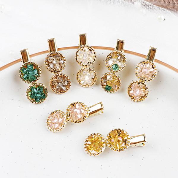 Pinzas para el cabello de cristal coreano Mujeres horquillas de flores geométricas redondas Señora Niñas Cuentas hechas a mano Barrettes Accesorios para el cabello