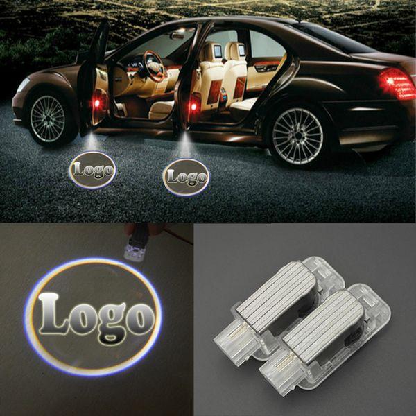 gros 2pcs Porte Led Bienvenue Projecteur laser Logo Fantôme Ombre Light Car-Design intérieur Lampe pour BMW BENZ AUDI TOYOTA