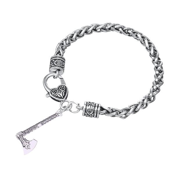 Lemegeton Fishhook Wholesale Dropshipping Vintage Norse Viking Dragon  Amulet Runes Axe Pendant Pagan Bracelet And BraceletJewelry Silver Pendants