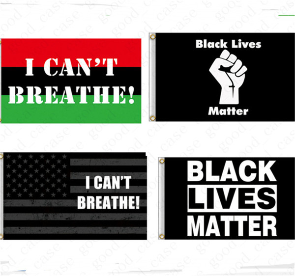 top popular I CAN'T BREATHE Flag 90*150CM 3*5 FT BLACK LIVES MATTER Flags USA Banners Letters Print American Parade Flags Home Party Garden Decor D6411 2021