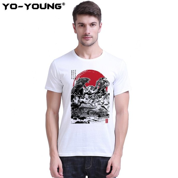 Men T Shirts Pacific Rim Attack On Japanese Temple Design Digital Printing 100% 180gsm Combed Cotton Casual T-shirts