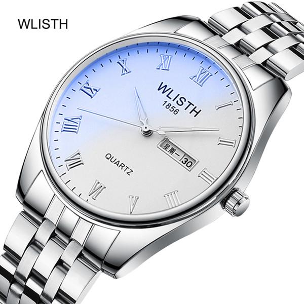 WLISTH Casal Relógios Moda Casual Quartz Relógio Amante Das Mulheres Dos Homens de Negócios Pulseira De Couro De Aço Relógio de Pulso Luminosa Amante Gilft