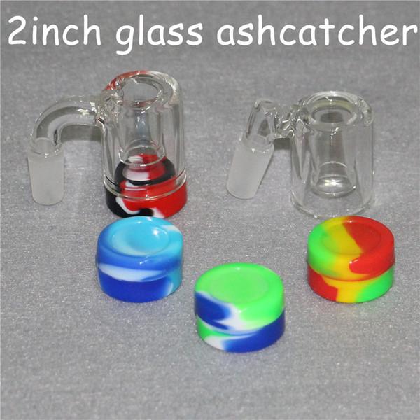 Nuevo recuperador de envases de silicona de 2 pulgadas de vidrio Ash Catchers con 14 mm de 18 mm de espesor Pyrex Ashcatcher Bong Tubos de agua Bangers de cuarzo para fumar