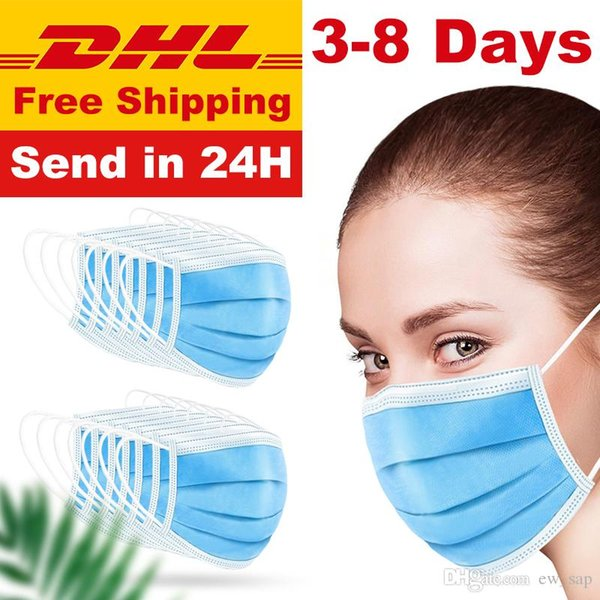 best selling 3-Layer Mask 2000pcs Face Mouth Masks Non Woven Disposable Anti-Dust Meltblown Cloth Masks Earloops Masks Fast Delivery Free DHL