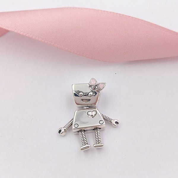 Authentic 925 Sterling Silver Beads Bella Bot Charm, Pink Enamel Charms Fits European Pandora Style Jewelry Bracelets & Necklace -P
