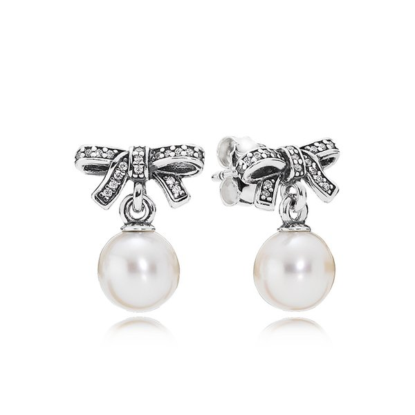 High Quality Real 925 Silver White Pearl Pendant Earring Fit Pandora Jewelry Women Women's Stud Earring with Gift Box