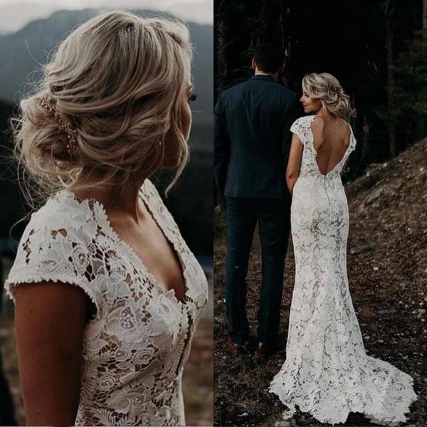 White Lace Country Mermaid Wedding Dresses 2019 Vintage V Neck Beach Bridal Gowns Vestidos De Novia Low Back Boho