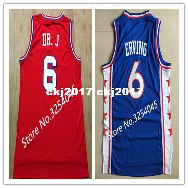 2019 Neue # 6 Julius Erving Dr J Top Basketball Jersey Stickerei Genäht US Größe S-XXL weste Trikots Ncaa