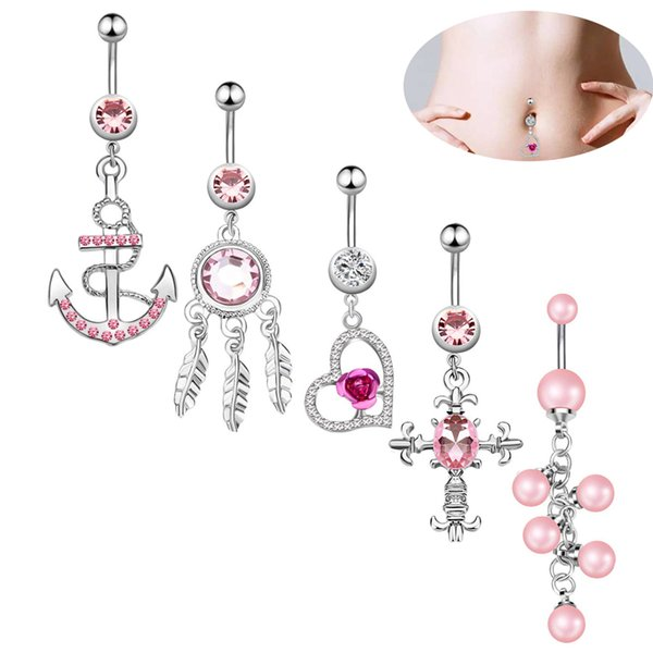 Mix Design 6PCS 2018 Hot Brand 14G Dangle Belly Button Rings 1.6mm Barbell Sexy Surgical Steel Belly Piercing Navel Piercing