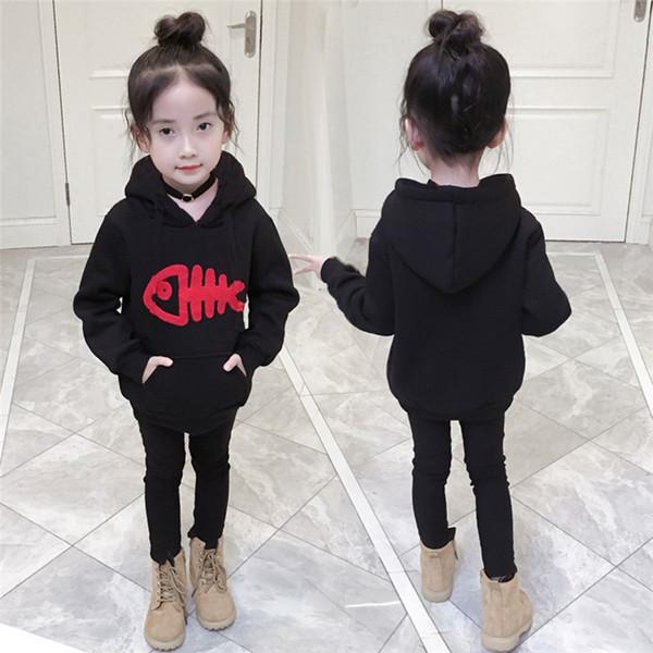 Kids Clothes Kids Hoodies Children Baby Girls Long Sleeve Fish Bone Printed Hooded Sweatshirt Tops Clothes Girls hoodies N01#F