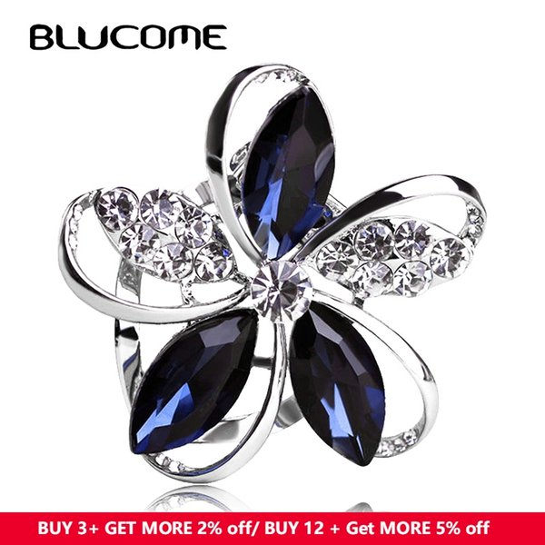 rystal flower brooch Blucome Gorgeous Blue Crystal Flower Brooches For Women Kids Hats Scarf Buckles Zircon Jewelry Party Corsages Suit P...