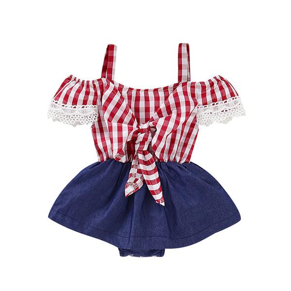 Toddler Baby Girl Princess Plaids Romper Bib Pants Playusit Jumpsuit Overalls Children Kids Off Shoulder Lace Rompers Sunsuit