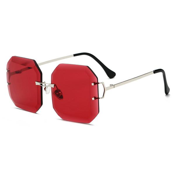 2019 Fashion Rimless Sunglasses For Women Gradient Red Color Oversized Eyewear Female Summer Travel Sun Glasses Essential UV400