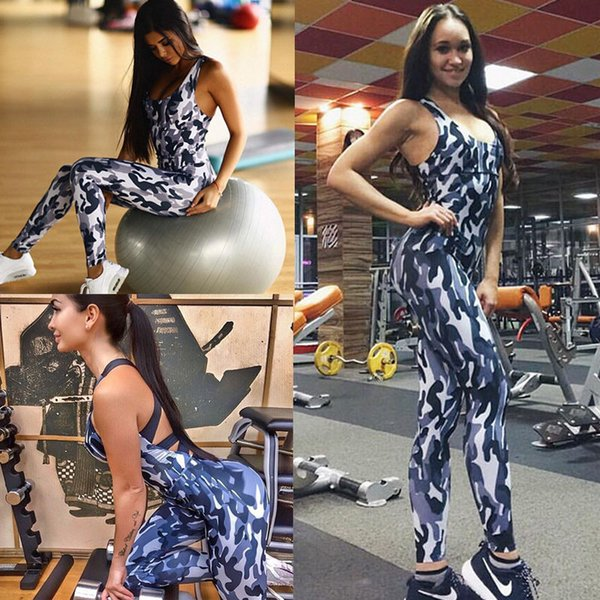 2018 brand new women's sports yoga workout gym fitness leggings pants jumpsuit bandage backless camo athletic clothes thumbnail