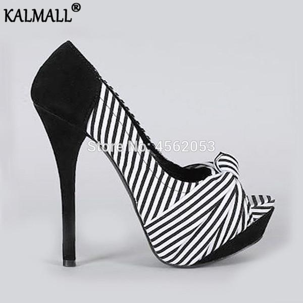 KALMALL Patchwork Schwarz Rot Gestreifte Pumps Peep Toe Stiletto Fetisch Runway Schuhe Frauen Talon Femme Bowknot Plattform High Heels