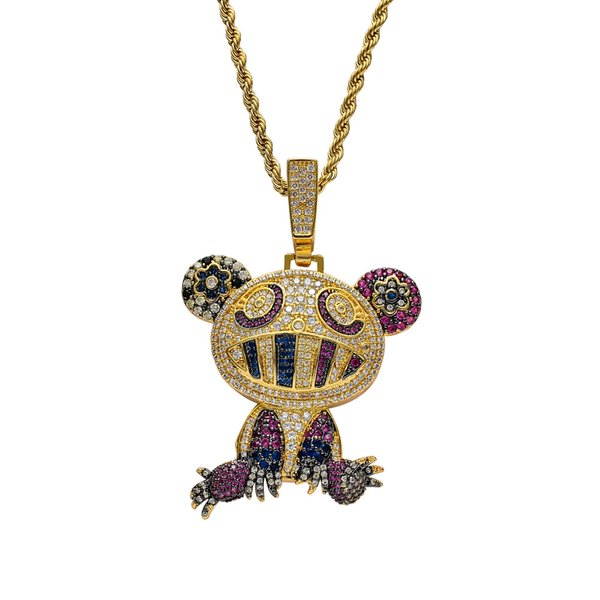 Hip Hop Multicolor Frog Pendant Necklaces For Men Women Charm Chain Jewelry Gifts Full Micro Pave Zircon Necklaces