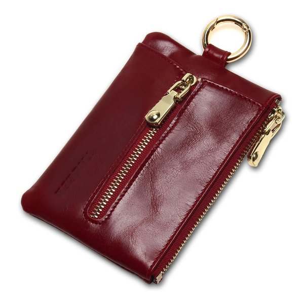 good quality Women Genuine Leather Oil Wax Zip Wallet Coin Key Holder Case Bag Fashion Key Chain Holder Charms High Quality
