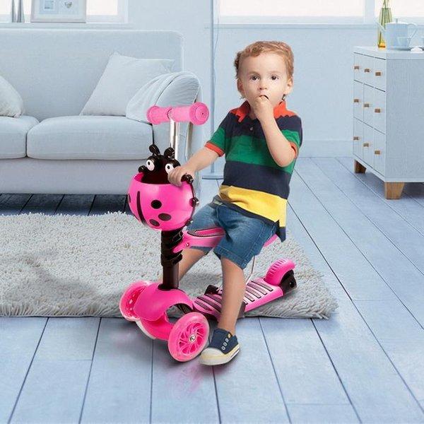 Kick Scooter 3-Wheel Kick Scooter Children Adjustable Height Kids Bikes Gift LED Light Up Wheels kids Foot Skate