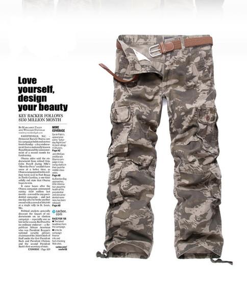 Camouflage Style coréen Pantalon cargo Big Pocket Décoration Casual Hommes Pantalon Designer Hip Pop Homme Pantalon