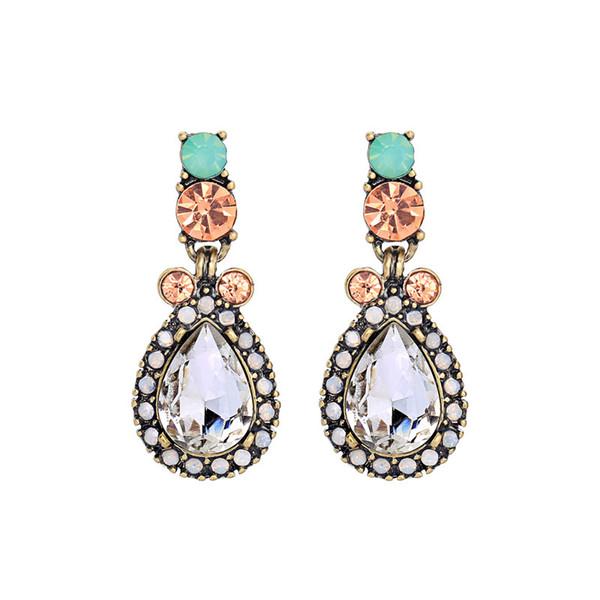 Alloy Material Vintage Teardrop Earrings For Fashion Trendy Jewelry Women, Multi color Crystal Water Drop Earrings