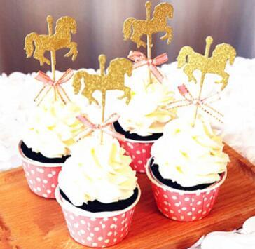 Cartoon Horse Cupcake Topper With Bow Tie Glitter Gold Carousel Wedding Birthday Party Cake Decoration DIY Handmade Cake Decor