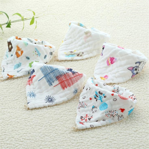 New Baby saliva towel baby triangle towel cotton bib gauze snap scarf newborn eating bib T8G014