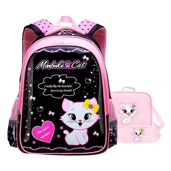 Waterproof children school bags girls Schoolbag Primary cartoon cat school backpack kids school backpack set Mochila Infantil Y190601