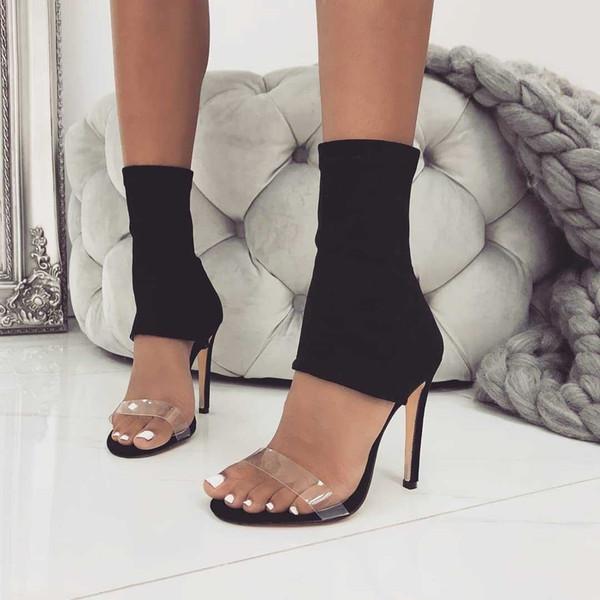 european and american stars 2019 autumn high heels foreign trade fashion elastic cloth transparent film pvc sandals women box p