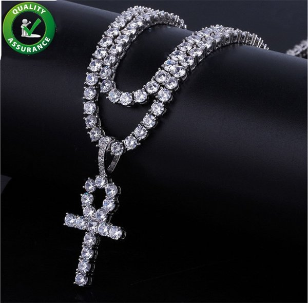 Iced Out Pendant Hip Hop Jewelry Cuban Link Chain Designer Necklace Micro Paved CZ Diamond Cross Pendant Men Luxury Bling Notre Dame Charms