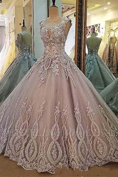 Jewel Neck Appliqued Lace prom 3D Floral Quinceanera Dresses 2019 Lace up Backless Plus Size Sweet 16 Evening Gowns