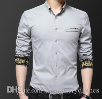 Camisas de vestir masculinas del negocio de la moda de los caballeros bordado diseñador de la flor camisa ocasional