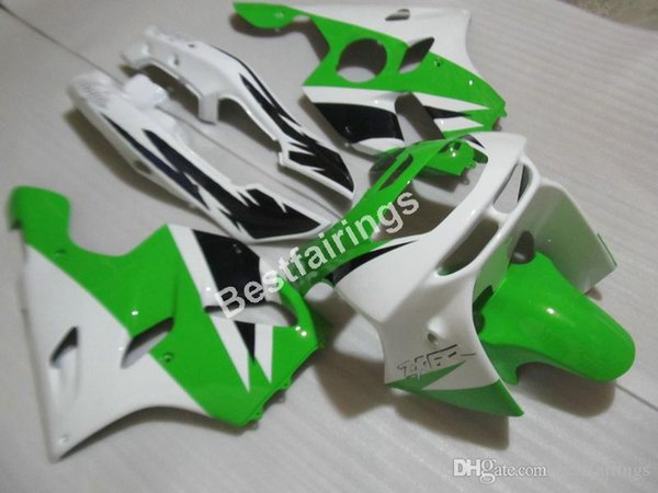 Motorcycle fairing kit for Kawasaki Ninja ZX6R 1994 1995 1996 1997 green white fairings set ZX6R 94 95 96 97 MT03