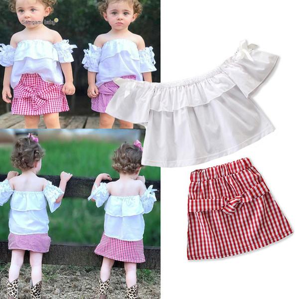 Yaz Kızlar Etek Elbise Toddler Kız Kıyafetler Giyim Seti Bebek Bebek Ruffled Pileli Papyon Kapalı Omuz Elastik Ekose Etek 1-6 T Tops