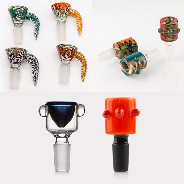 Os mais recentes 4 estilo 14 milímetros tigela e bowl 18 milímetros de vidro Male Joint Handle bela peça tigela Deslize fumar Acessórios para tubos Bongs água