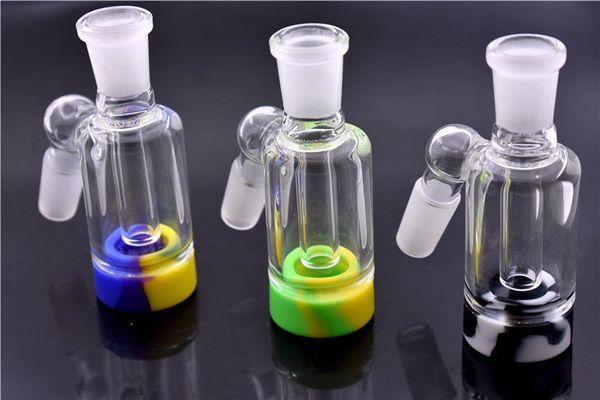 wholesale Coletor de cinzas de vidro com recipiente de silicone destacável para plataforma de petróleo dab mini 14mm 18mm ashcatcher de vidro bong dhl livre