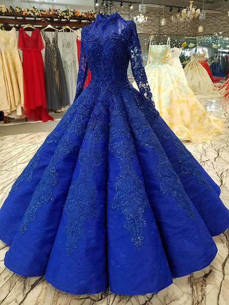 robe de mariage High Quality Royal Blue Ball Gowns Wedding Dresses 2019 Saudi Arabian Dubai Lace up Vintage Long Sleeves Muslim Bridal Gowns