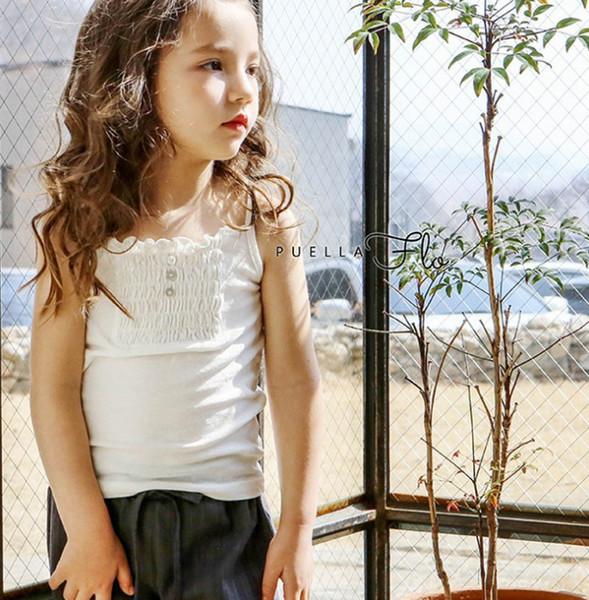 2019 Yaz yeni çocuklar tank top kızlar çiy omuz prenses üstleri çocuk fırfır askı bluz çocuk tüm maç dibe gömlek F5947
