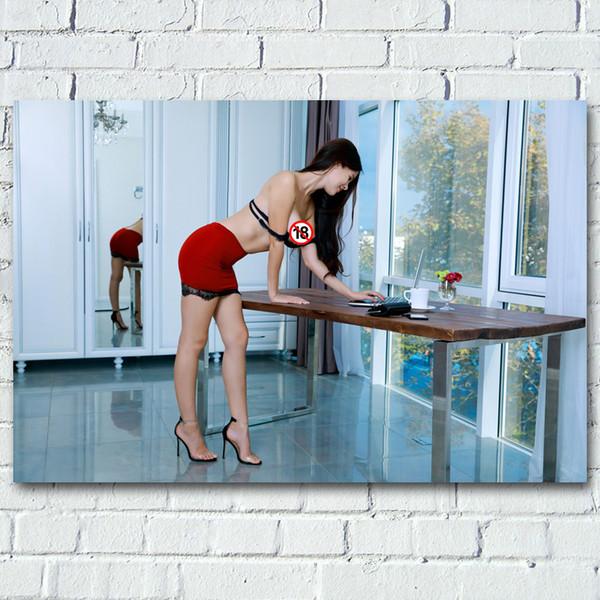El modelo adulto Oficina Señora atractiva caliente en el pecho de la mujer foto de la muchacha pared Pósteres pinturas de seda de la lona impresiones para Living Room Decor