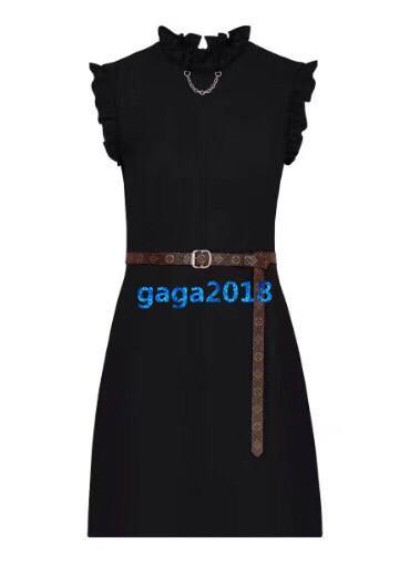 женщины девушки платье без рукавов с цепным поясом и оборками подробно crewneck a-line труба старинные мини-юбки высокого класса моды роскошные платья