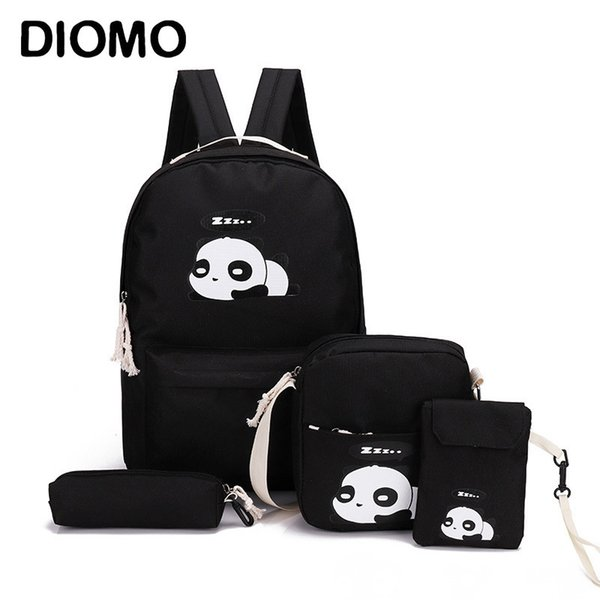 Diomo Panda Bag Female Canvas School Backpack Set For Boys With Girls Teenagers Laptop Bagpack Women Crossbody Pencil Case Child Y19062401
