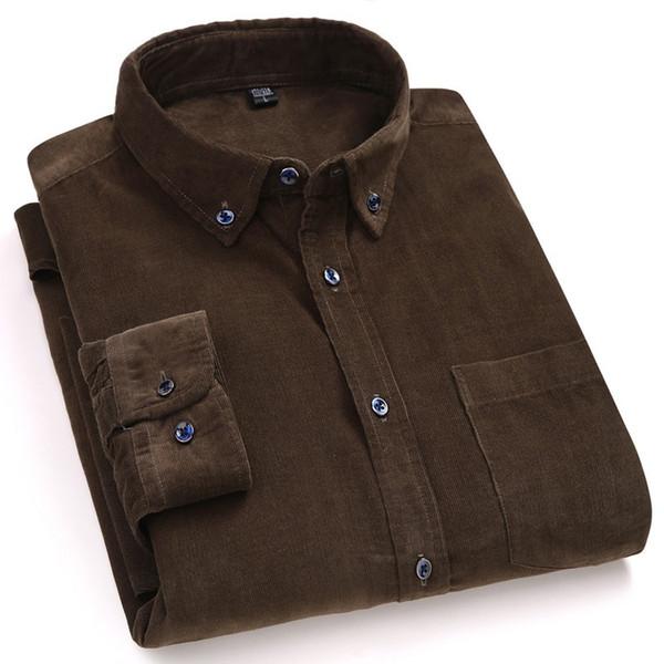 ABBIGLIAMENTO solido morbido velluto a coste vestito dall'uomo di qualità 100% degli uomini del cotone della camicia della molla degli uomini di autunno addensare Big Size camicia maschile