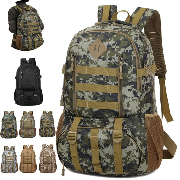 New Men Tactical Military Backpack Camo Mountaineering Bag 50L Capacity Travel Backpack Unisex Outdoor Rucksack Camping Cimbing Bags M39F