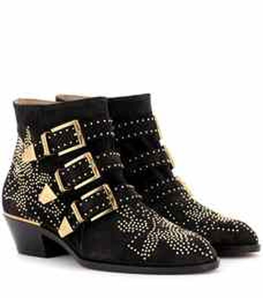 Womens Pointed Toe Rivet Studs Genuine Leather Belt Buckle Ankle Boots Western Shoes Chunky Heel 12Colors A765