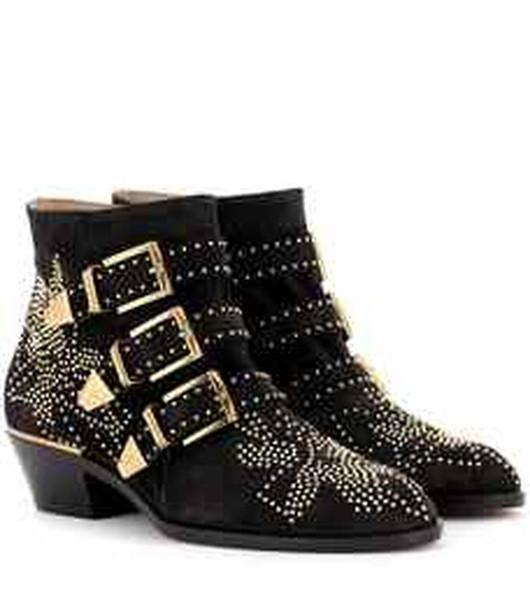 Bayan Sivri Burun Perçin Çiviler Hakiki Deri Kemer Toka Ayak Bileği Çizmeler Batı Ayakkabı Tıknaz Topuk 12 Renkler A765